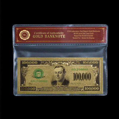 WR Color GOLD US Dollar Bill Note $100,000 American Holiday Money Thank You Gift