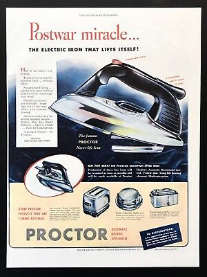 1945 Vintage Print Ad PROCTOR Iron Illustration Toaster Grill Electric