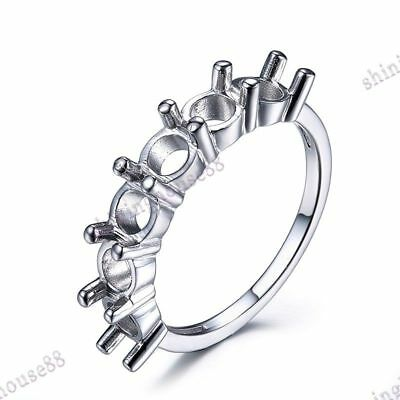 Sterling Silver 925 Plate White Gold 4.5mm Round Smei Mount Six Grains Ring