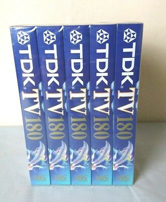 TDK 180 - 3 hours Recording VHS Blank Video Tapes 5 Pack - New and Sealed
