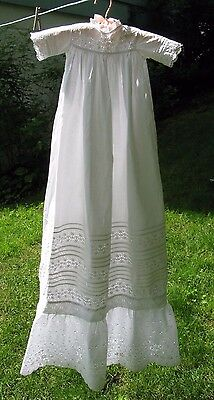 """Vtg Antique Victorian Handmade Christening Gown Broderie Anglaise Pin Tuck 46"""""""