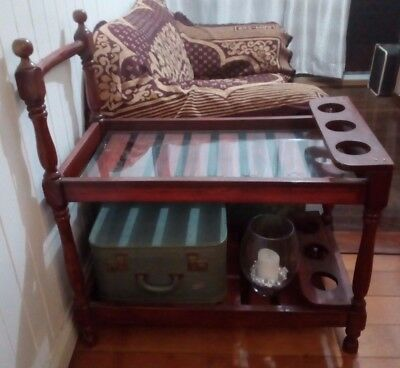 VINTAGE WOODEN AUTO DRINK SERVING TROLLEY 2 TIER BUTLERS TROLLEY Dumbwaiter