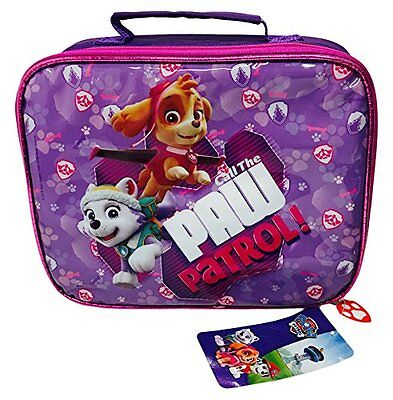 Girls Purple Paw Patrol 3-Piece Lunch Set Drinks Bottle Lunch Box (Catchy)