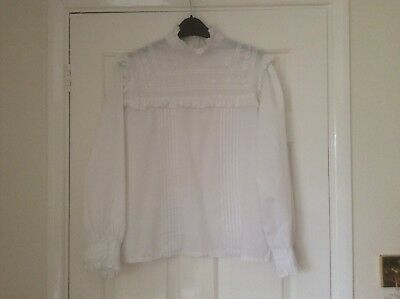 Vintage 1980s ladies white blouse embroidery and frill detail size medium