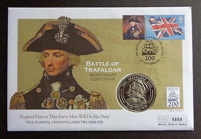 2005 Gibraltar 1 Crown Battle of Trafalgar Coin Cover