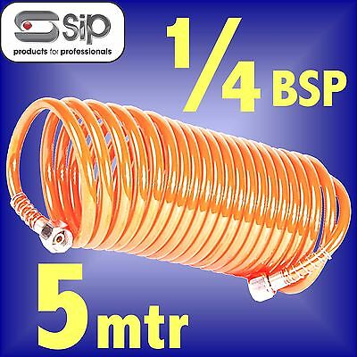 SIP 04115 Professional Coiled Air Hose 5m 1/4 BSP airline compressor tool line