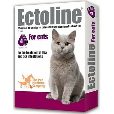 Ectoline Treatment Of Flea and Tick Infestations For Cats 4 pipettes 0.5ml
