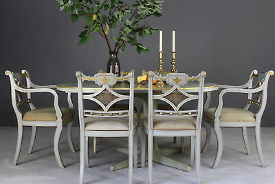 Regency Style Painted Extending Dining Table & 6 Chairs