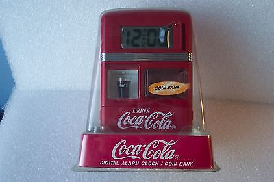 Coca Cola Digital Alarm Clock / Coin Bank 1998 New in Wrap with Instructions