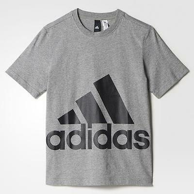 Adidas T-Shirt Big Logo Junior - Grey Melange/black - Bp8757