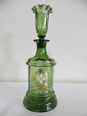 """Vintage Hand Blown Decanter w/ Shot Glass Stopper """"All-in-One"""" Green Pontil #175"""
