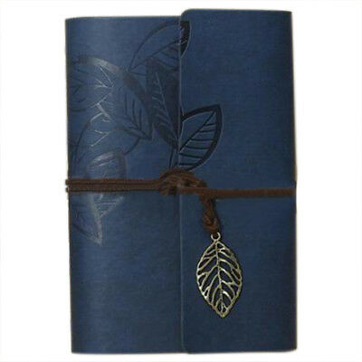 PU Leather Diary book Notebook Leaf Pendant Vintage Notebook 19x13.5cm A6M1