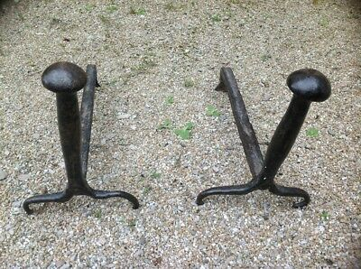 antique pair of Fireplace Fire Dogs Andirons