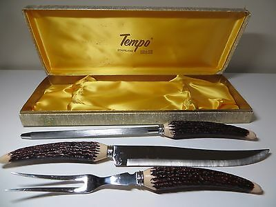 Vintage 3 Pc. Carving Set Stainless Knife Fork Steel w/ Case Faux Antler Handles