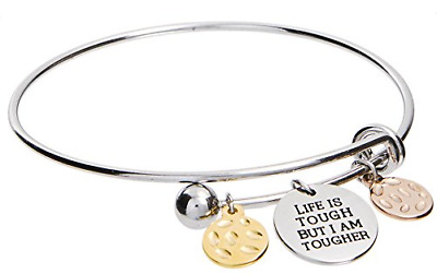 Life is Tough But I Am Tougher Inspirational Charm Bangle Bracelet