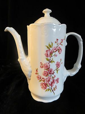 VTG Tea Coffee Pot Pink Cherry Blossom Porcelain Romania ARPO No.4 Cottage Chic