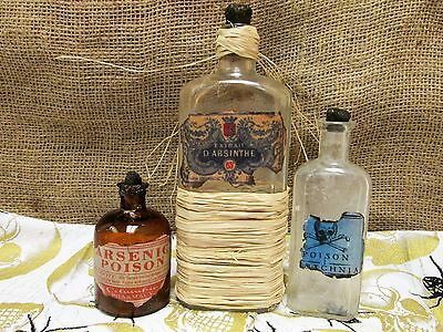 Vintage/antique Bottles Gothic Steampunk Poison/apothecary Halloween Lot Of 3