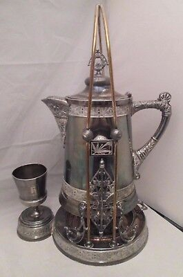 Antique Victorian Pairpoint Quad Silver Plate Water Pitcher w/ Tilting Stand
