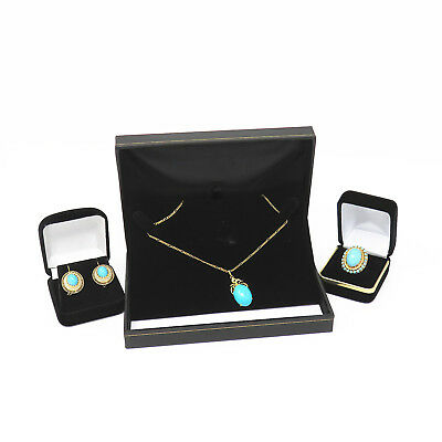 NYJEWEL Brand New 18k Gold Turquoise Pearl Necklace Earrings Ring Suite Set