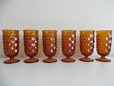 VTG 6 Pc. Amber Glasses Tumbler Indiana Whitehall Colony Cube Footed 6 oz Fall