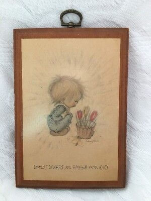 Vintage Hallmark Betsey Clark Wood Picture FLOWERS ARE SMILES FROM GOD