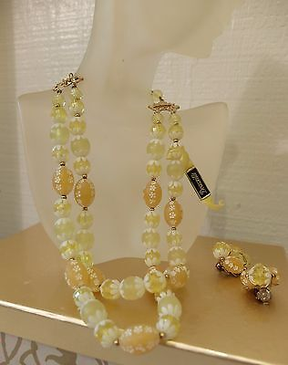 Vintage Mid Century Deauville Easter Eggs Early Plastic Lemon Yellow Necklace ER