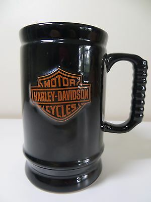 Harley-Davidson Motorcycles  Coffee Mug / Beer Stein Black Ribbed Handle 12 Oz