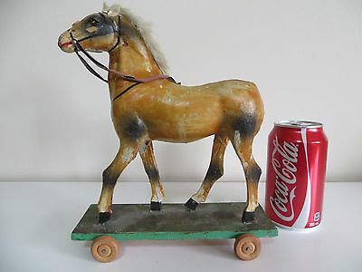 Antique Horse Pull Toy on Wood Platform Paper Mache Body Leather Reins Fur Mane