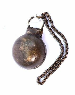 Ethnic Collectible Antique Brass Betel Lime Chuna-Dani Box With Chain. i22-14