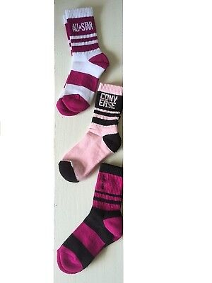 (Purple, Pink, Black, White) - Youth Converse ALL-STAR Crew Socks (3 pair) 3Y-5Y