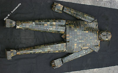 """72"""" Collect Chinese Hetian Jade Jadeite Silver Silk Connect Jade clothes Armor"""