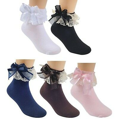 Honanda Kid Princess Style Lace Frilly Ruffle Ballet Socks Dance Socks 5 Pairs