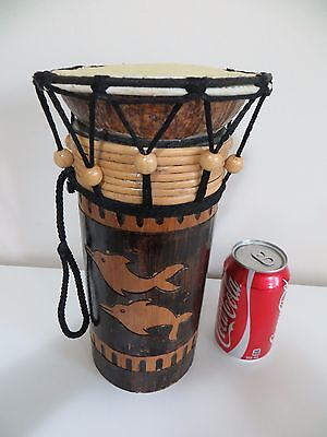 Vintage Drum Bongo Dolphin Carved 2-Sided Design Handmade in Indonesian 11""