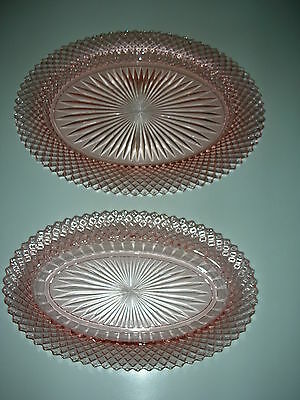 Vintage Miss America Platter & Celery Plate Pink Depression Glass Anchor-Hocking