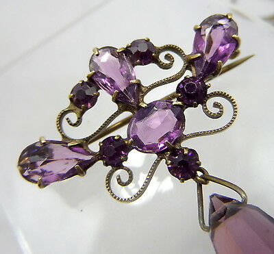 Art Nouveau Faceted Amethyst Glass Lavalier Brooch