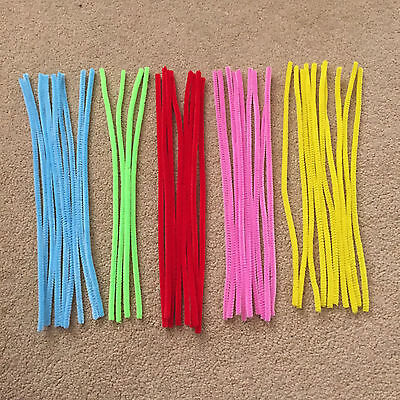 40 mixed pipe cleaners, red/blue/yellow/green/pink, 29.5cm, craft supplies