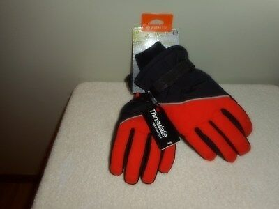 TEK GEAR 3M THINSULATE BOYS SKI GLOVES Blk / Org Size M/L 8-20