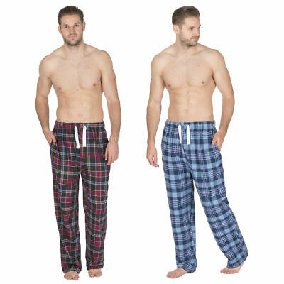 Cargo Bay Mens Flannel Pajama Bottoms Checked Lounge Pants Cotton Trousers New