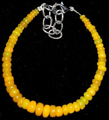 20 Cts 3 to 6.5 mm 5.4 Inc. Natural Ethiopian Yellow Opal Beads Bracelet a028