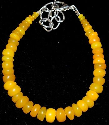 29 Cts 2.5 to 7 mm 5.4 Inc. Natural Ethiopian Yellow Opal Beads Bracelet a026