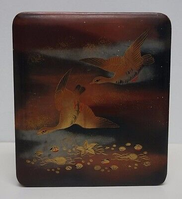 """Vintage Japanese Lacquer Lidded Box with Geese 7.5"""" x 6.5"""""""