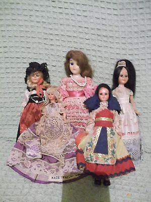 5 crafted ethnic dolls  inc Brussels  France Gypsy Italy needlework lace crochet