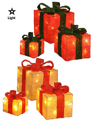 Set Of 3 LED Gift Boxes Decorations Light Up Christmas Xmas Parcels Presents