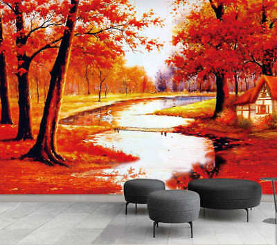 Red Maple River 3D Full Wall Mural Photo Wallpaper Printing Home Kids Decoration