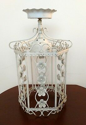 Vintage Tole Chandelier  - Shabby Chic  Metal Rustic Cottage