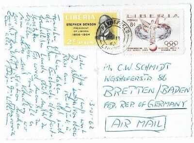 Liberia Stamps & Paynefield Postmark On Postcard Topless Ethnic Lady Used 1962