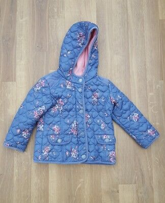 Next Girls Floral print Coat Hooded age 3-4 Years Jacket blue pink