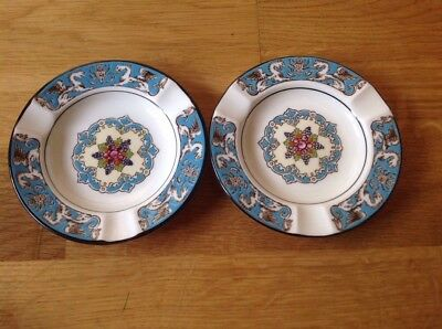 Wedgwood Florentine W2714 Turquoise 2 Ash Trays Floral Centre 11.5cm 1st Quality