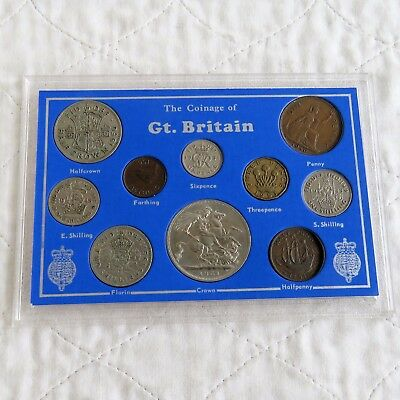 GEORGE VI 10 COIN TYPE SET - cased