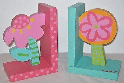 Tatutina Wooden Bookends~Set 0F (2) Bright Flowers~Adorable~Multi Colored